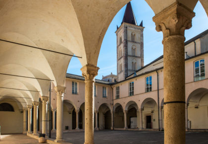 The cloister of Santa Caterina in the ancient village of Finalborgo, Italy